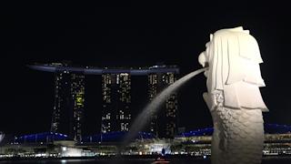 シンガポール/マーライオンとマリーナベイ・サンズの夜景