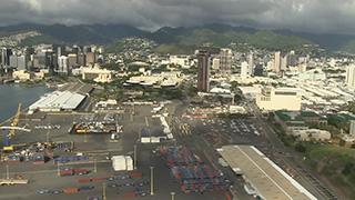 アメリカ/ハワイ/オアフ島/ホノルル港上空