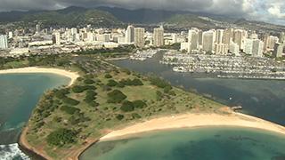 アメリカ/ハワイ/オアフ島/アラモアナ上空
