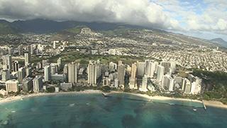 アメリカ/ハワイ/オアフ島/ワイキキ上空